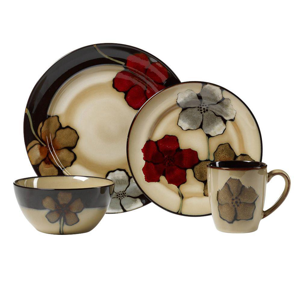 16-Piece Painted Poppies Dinnerware Set