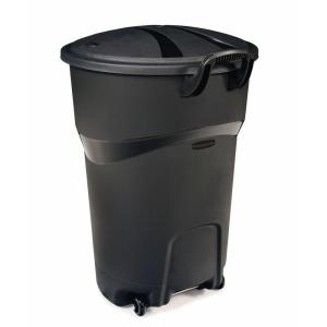 Rubbermaid Roughneck 32 Gal. Black Wheeled Trash Can with Lid by Rubbermaid