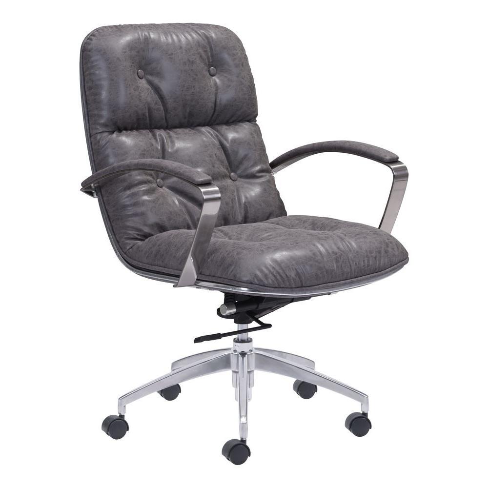 Enjoyable Avenue Vintage Gray Leatherette Office Chair Download Free Architecture Designs Grimeyleaguecom