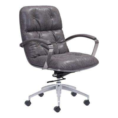 Avenue Vintage Gray Leatherette Office Chair