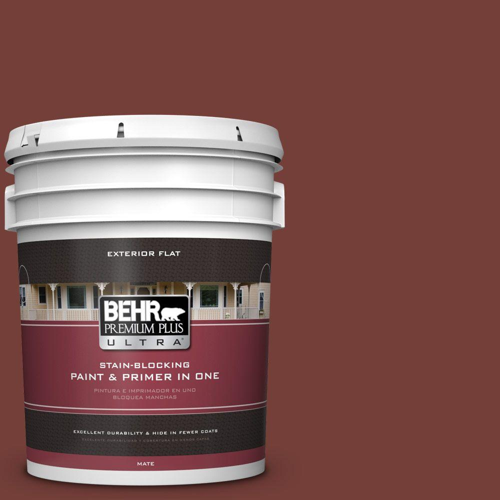 BEHR Premium Plus Ultra 5-gal. #BXC-76 Florence Red Flat Exterior Paint