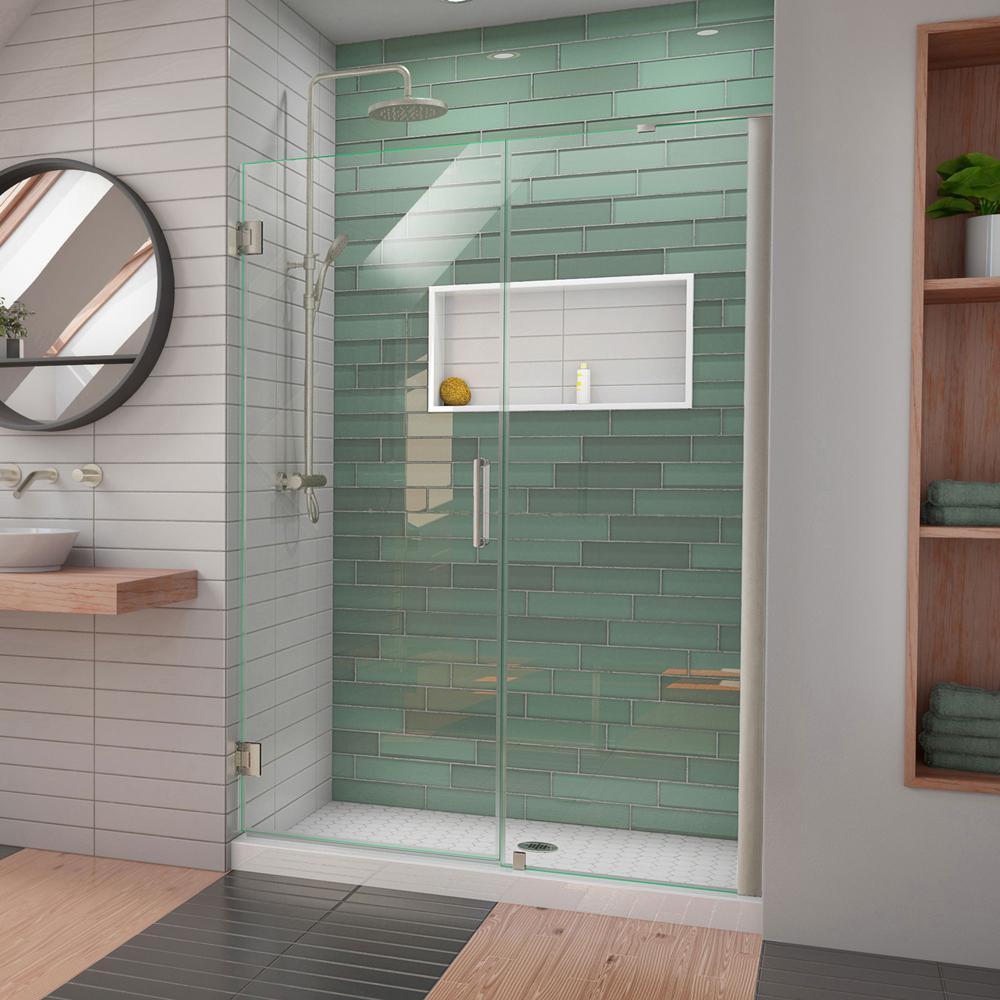 Unidoor-LS 53 in. to 54 in. W x 72 in. H Frameless Hinged Shower Door in Brushed Nickel