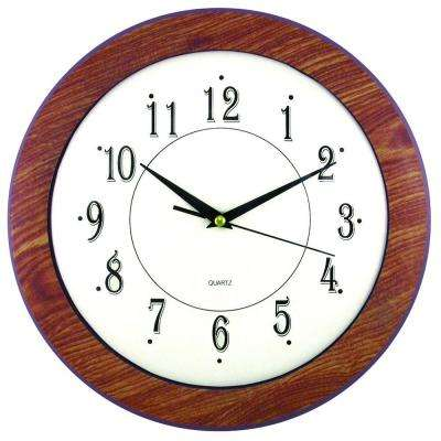 11-3/4 in. Glass and Faux Wood Wall Clock