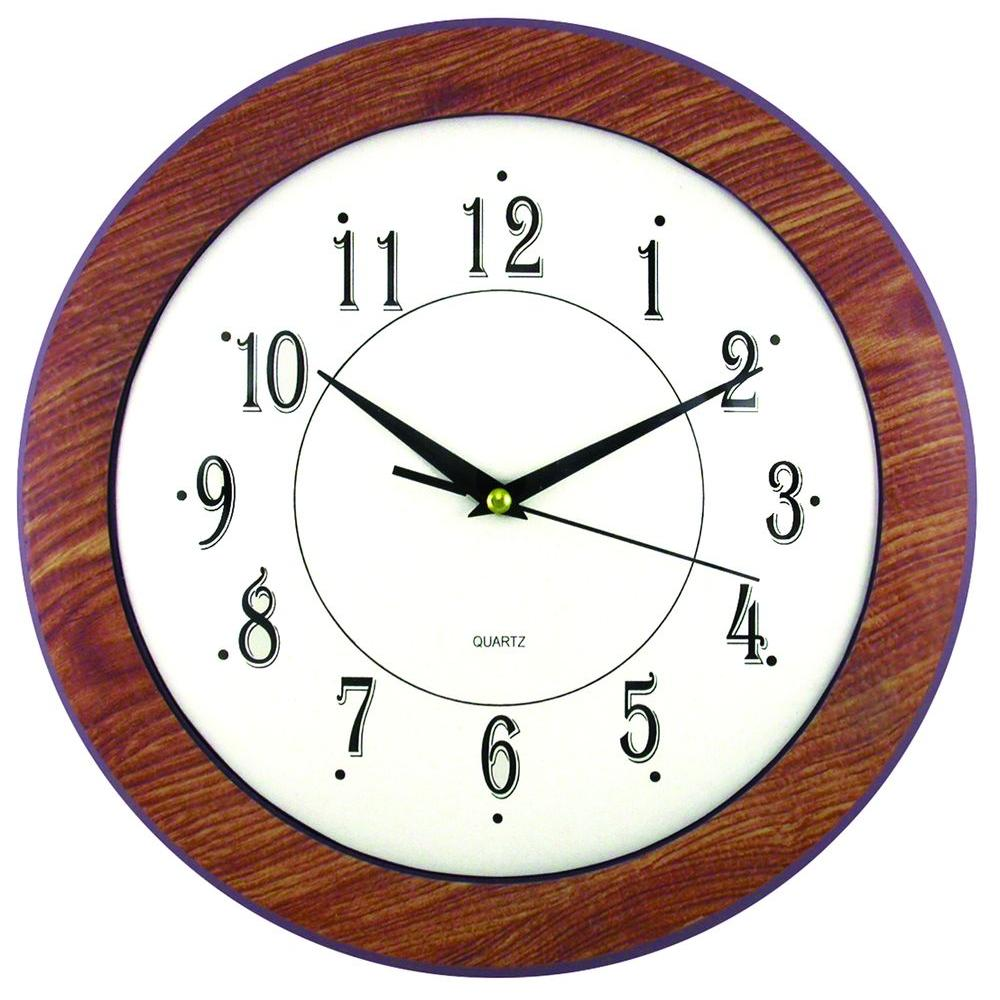 Timekeeper products 11 3 4 in glass and faux wood wall clock 6415 the home depot Target clocks living room