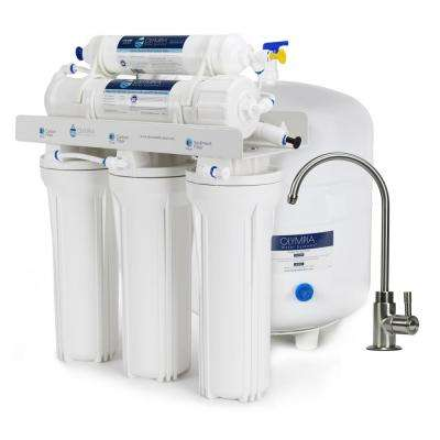 5-Stage Under-Sink Reverse Osmosis Water Filtration System with 50 GPD Membrane - Brushed Nickel Faucet