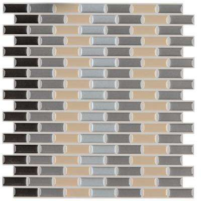 12 in. x 12 in. Peel and Stick Mosaic Decorative Wall Tile Earth Tones in Brown and Tan (6-Pack)