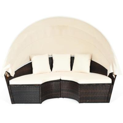 4-Piece Rattan Wicker Outdoor Patio Sectional Set Daybed Sofa with Beige Cushions and Canopy and 3 Pillows