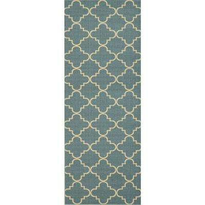 Hamam Collection Blue 2 ft. x 5 ft. Runner Rug