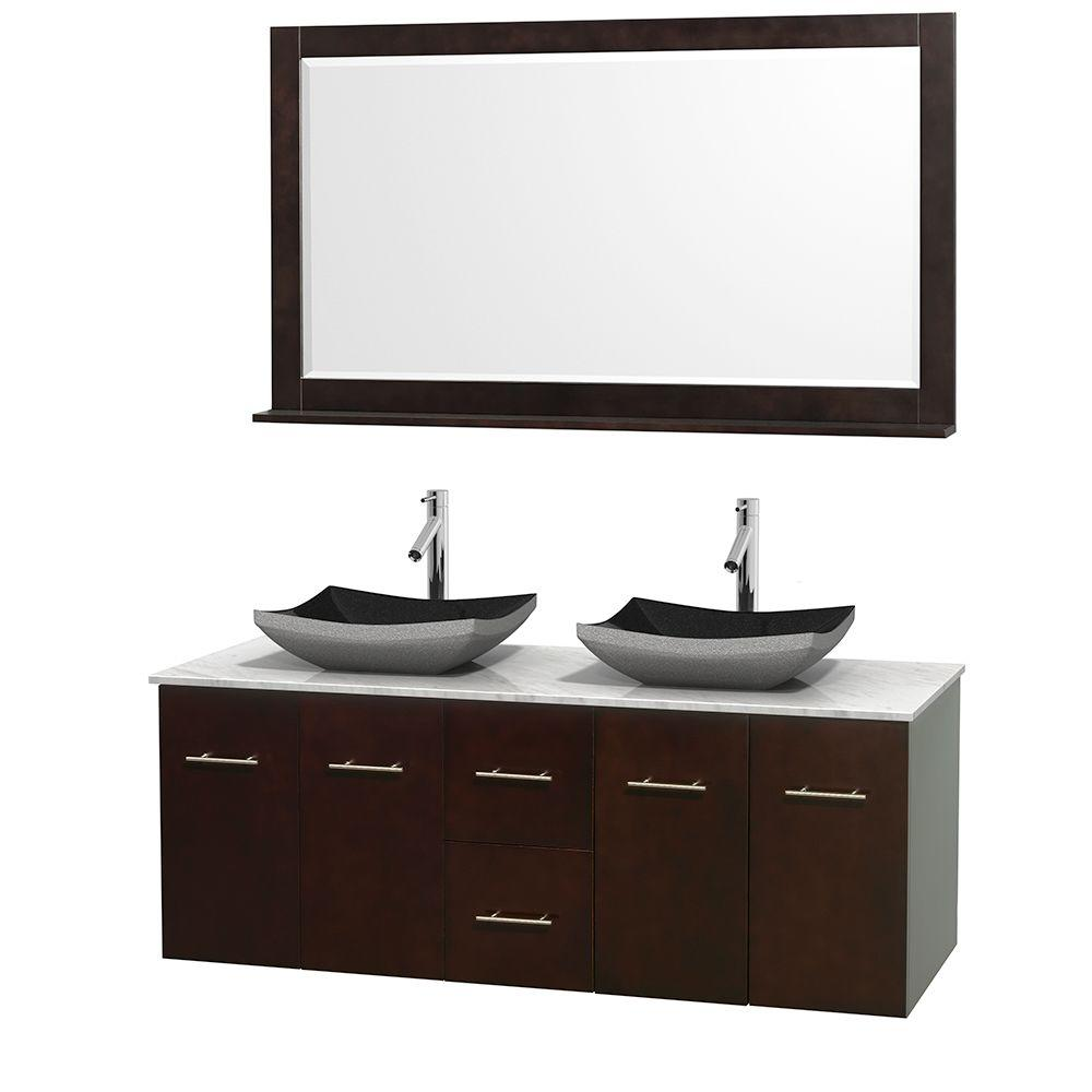 Wyndham Collection Centra 60 in. Double Vanity in Espresso with Marble Vanity Top in Carrara White, Black Granite Sinks and 58 in. Mirror