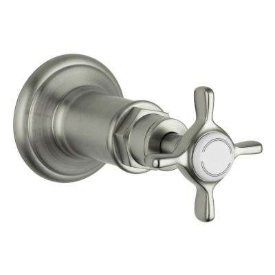 Axor Montreux Volume Control 1-Handle Valve Trim Kit in Brushed Nickel with Cross Handle (Valve Not Included)