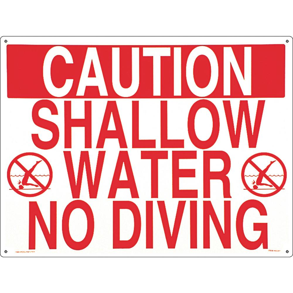 Residential or Commercial Swimming Pool Signs, Shallow Water No Diving