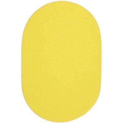 Joy Braids Solid Yellow 5 ft. x 8 ft. Oval Indoor/Outdoor Braided Area Rug