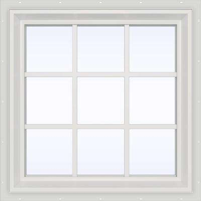 35.5 in. x 35.5 in. V-2500 Series Fixed Picture Vinyl Window with Grids - White