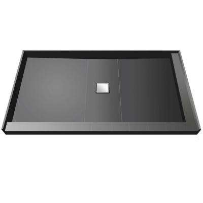 37 in. x 72 in. Double Threshold Shower Base with Center Drain
