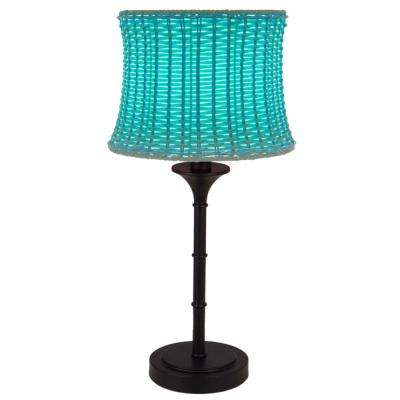 Blue Outdoor/Indoor Table Lamp With Basketweave Shade