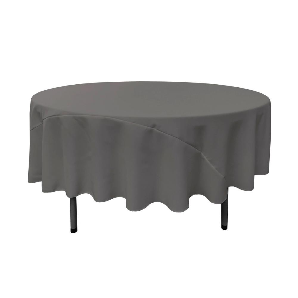 LALinen LA Linen 90 in. Charcoal Polyester Poplin Round Tablecloth, Grey