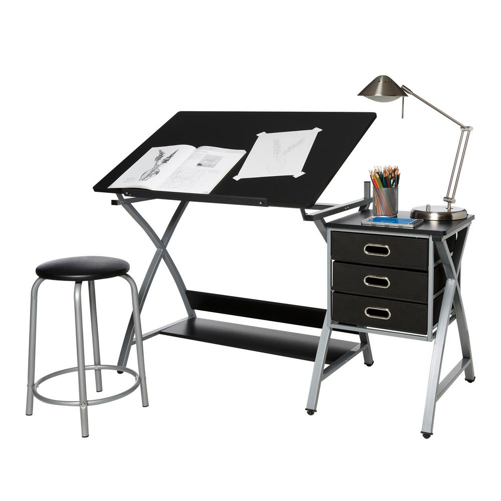 Genial OneSpace Black And Silver Craft Station With Stool