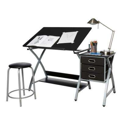 Black and Silver Craft Station with Stool