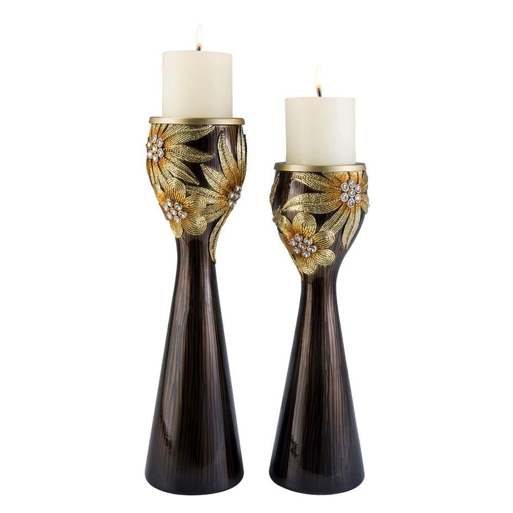 ORE International 14 in. and 16 in. Golden Demeter Candle Holder Set