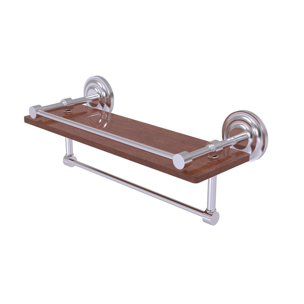 Allied Brass Que New Collection 16 in. IPE Ironwood Shelf with Gallery Rail  and Towel
