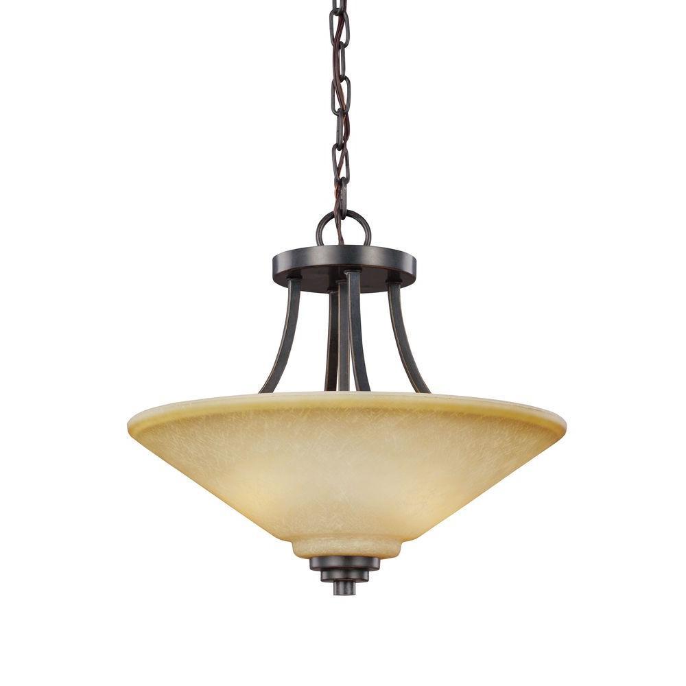 Sea Gull Lighting Parkfield. 2-Light Flemish Bronze Semi-Flush Mount Convertible Pendant
