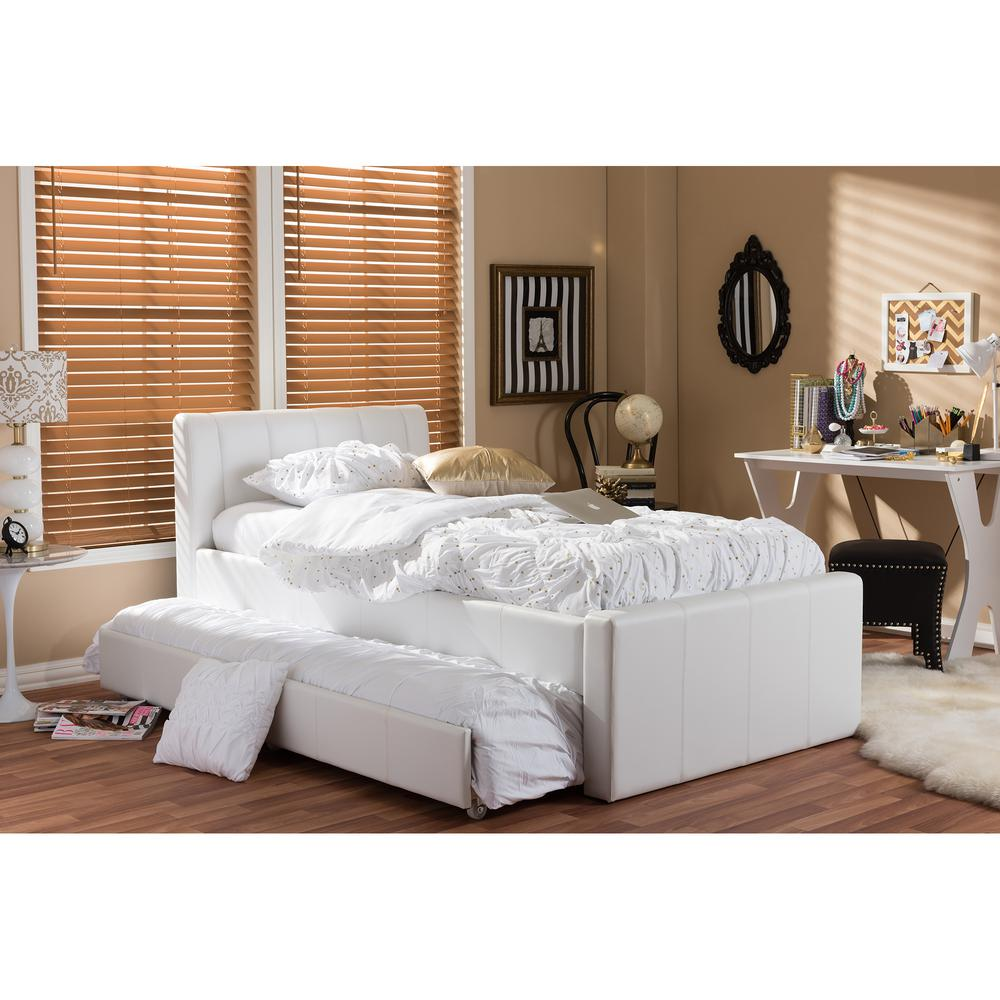 Baxton Studio Cosmo White Faux Leather Twin Size Trundle