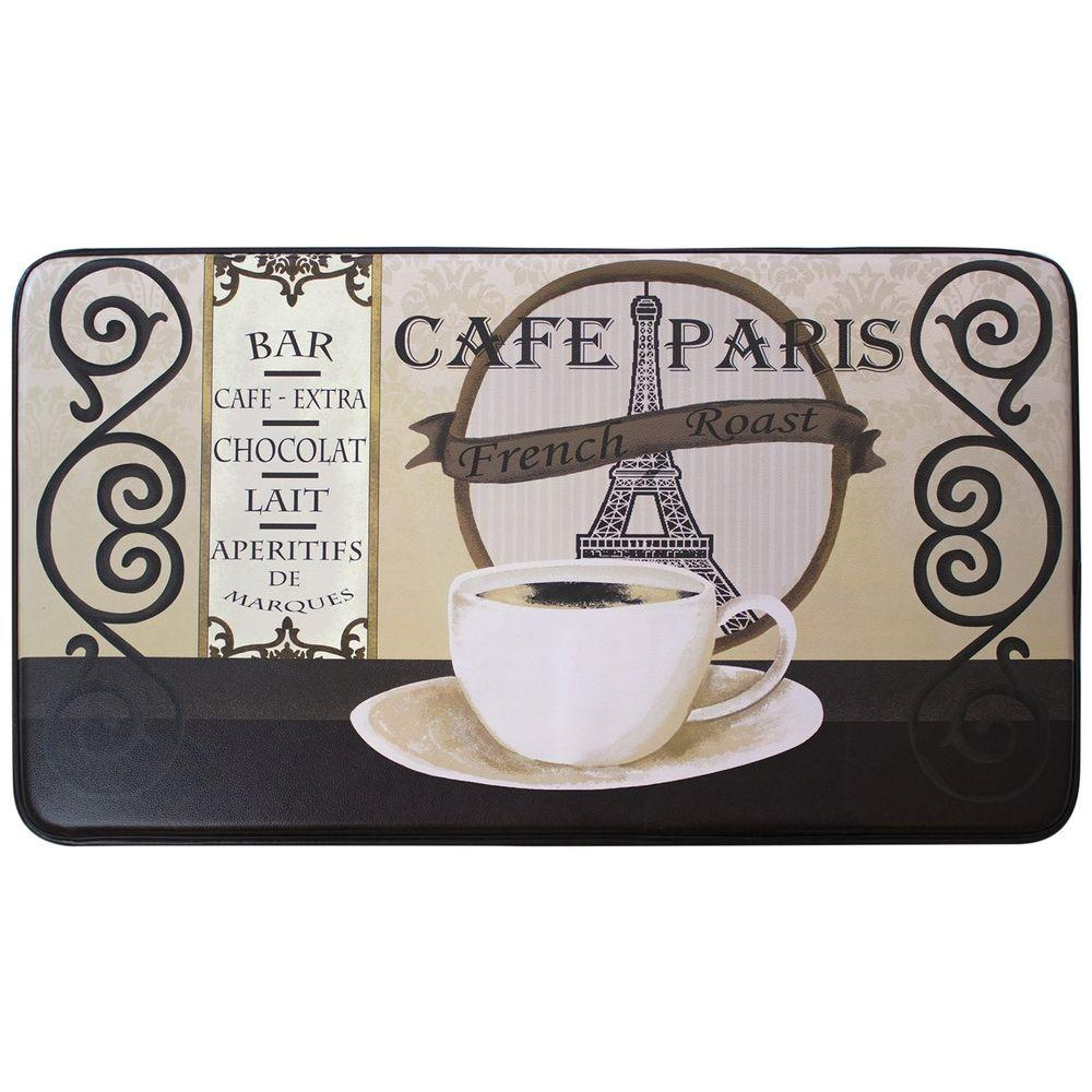 Chef Gear Cafe Paris 18 In. X 30 In. Faux Leather Comfort Kitchen Mat