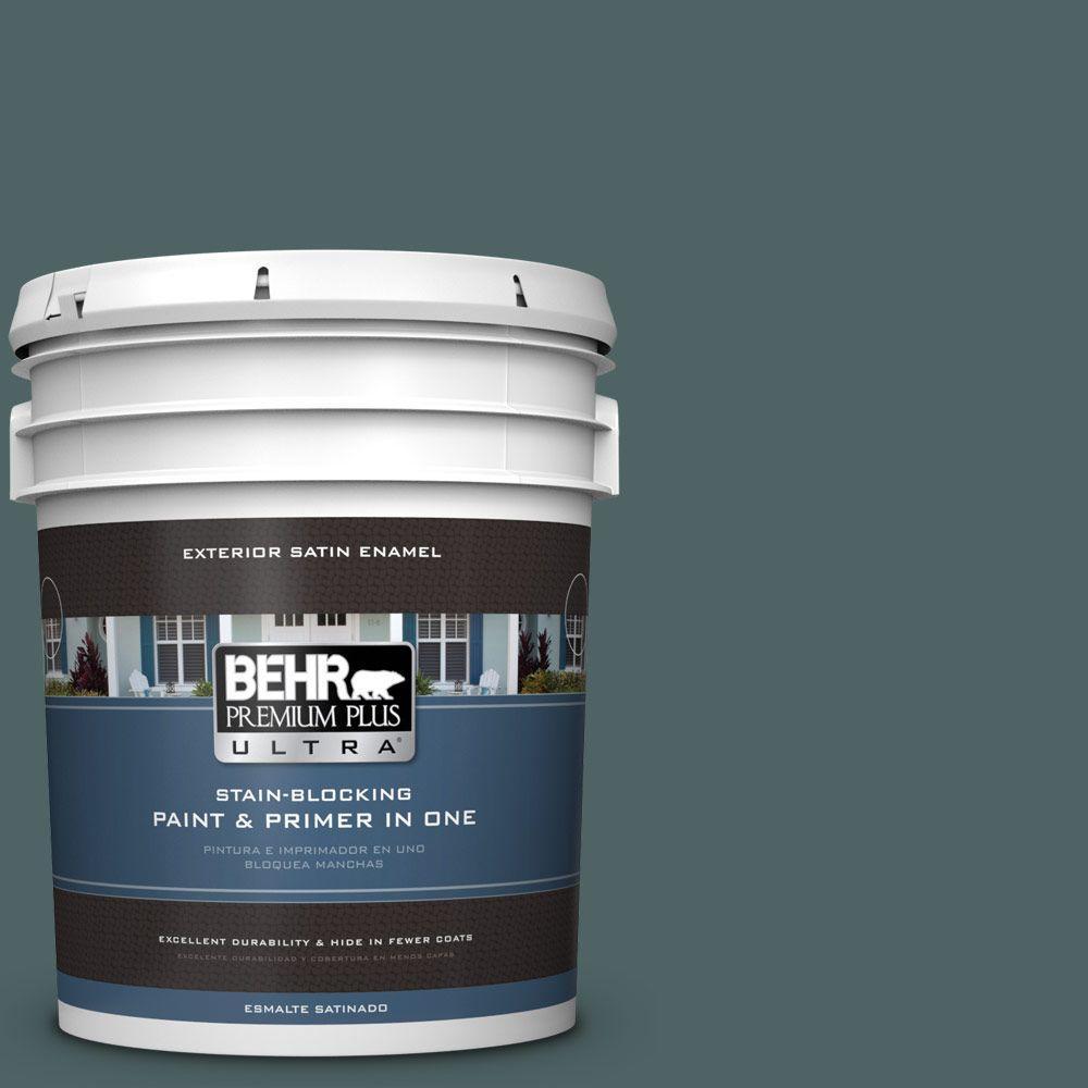 BEHR Premium Plus Ultra 5 gal. #PPU12-20 Underwater Color Satin Enamel Exterior Paint