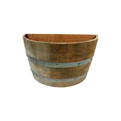 14 in. L 26 in. W 15 in. H Oak Wood Wine Barrel Wall Planter Handcrafted From Used Wine Barrel