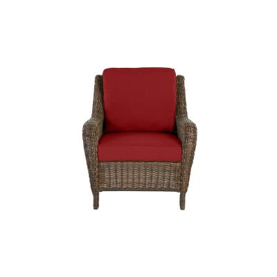 Cambridge Brown Wicker Outdoor Patio Lounge Chair with CushionGuard Chili Red Cushions