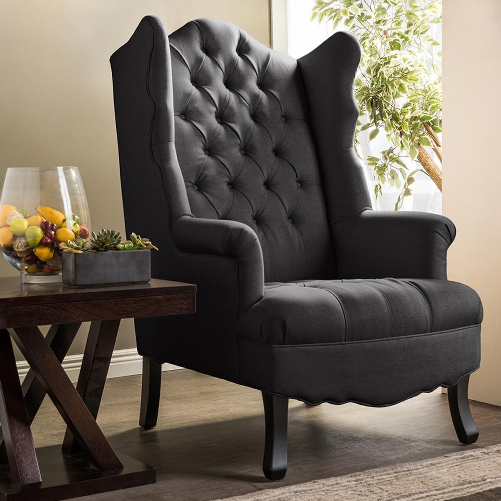 hudson french inspired gray fabric upholstered accent chair