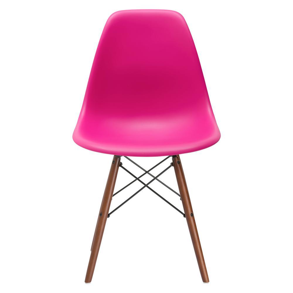 Set of 4 Fuchsia Poly and Bark Vortex Side Chair Walnut Legs