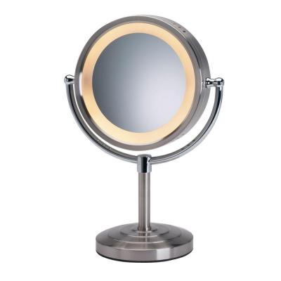 8-1/2 in. x 15 in. Round Lighted 5X Magnification Pedestal Makeup Mirror in Chrome