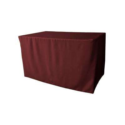 48 in. L x 24 in. W x 30 in. H Burgundy Polyester Poplin Fitted Tablecloth