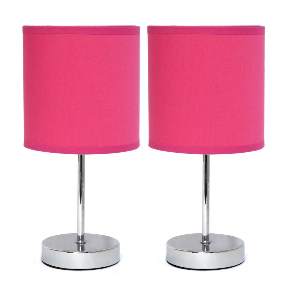 11 in. Chrome Mini Basic Hot Pink Table Lamp with Fabric Shade (2-Pack)