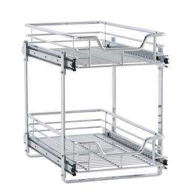 11.5 in. Dual Slide 2 Tier Organizer in Chrome