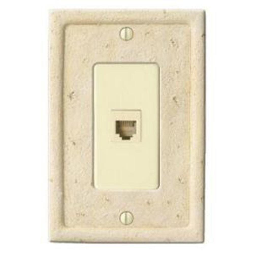 Creative Accents Stone 1 Phone Wall Plate - Ivory