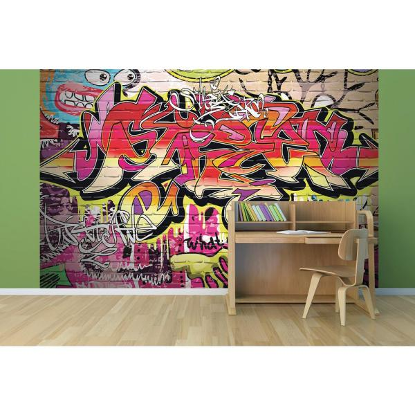 Brewster 118 In X 98 In City Graffiti Wall Mural Wals0003 The