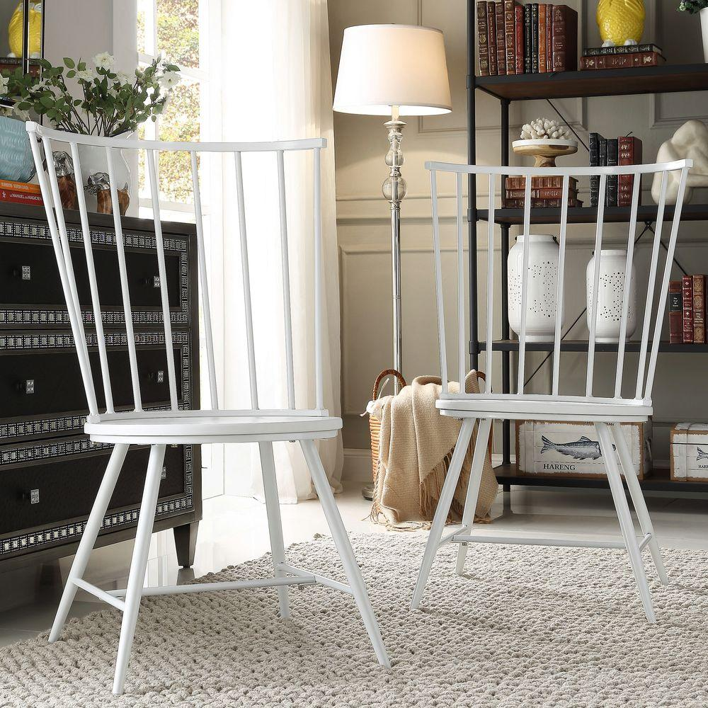 Walker White Wood And Metal High Back Dining Chair Set Of 2