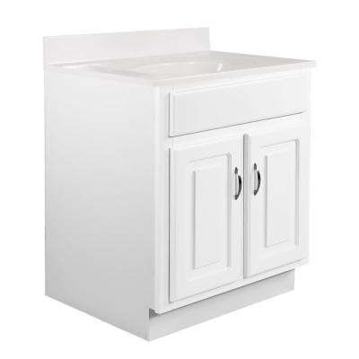 24 in. x 21 in. x 30 in. Bath Vanity in White w/ 4 in. Centerset White on White CM Single Basin Vanity Top