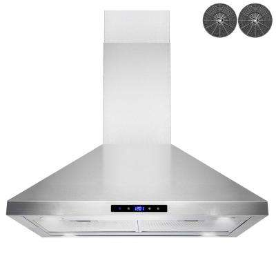 30 in. Convertible Kitchen Island Mount Range Hood in Stainless Steel with Touch Panel, LED Lights and Carbon Filters