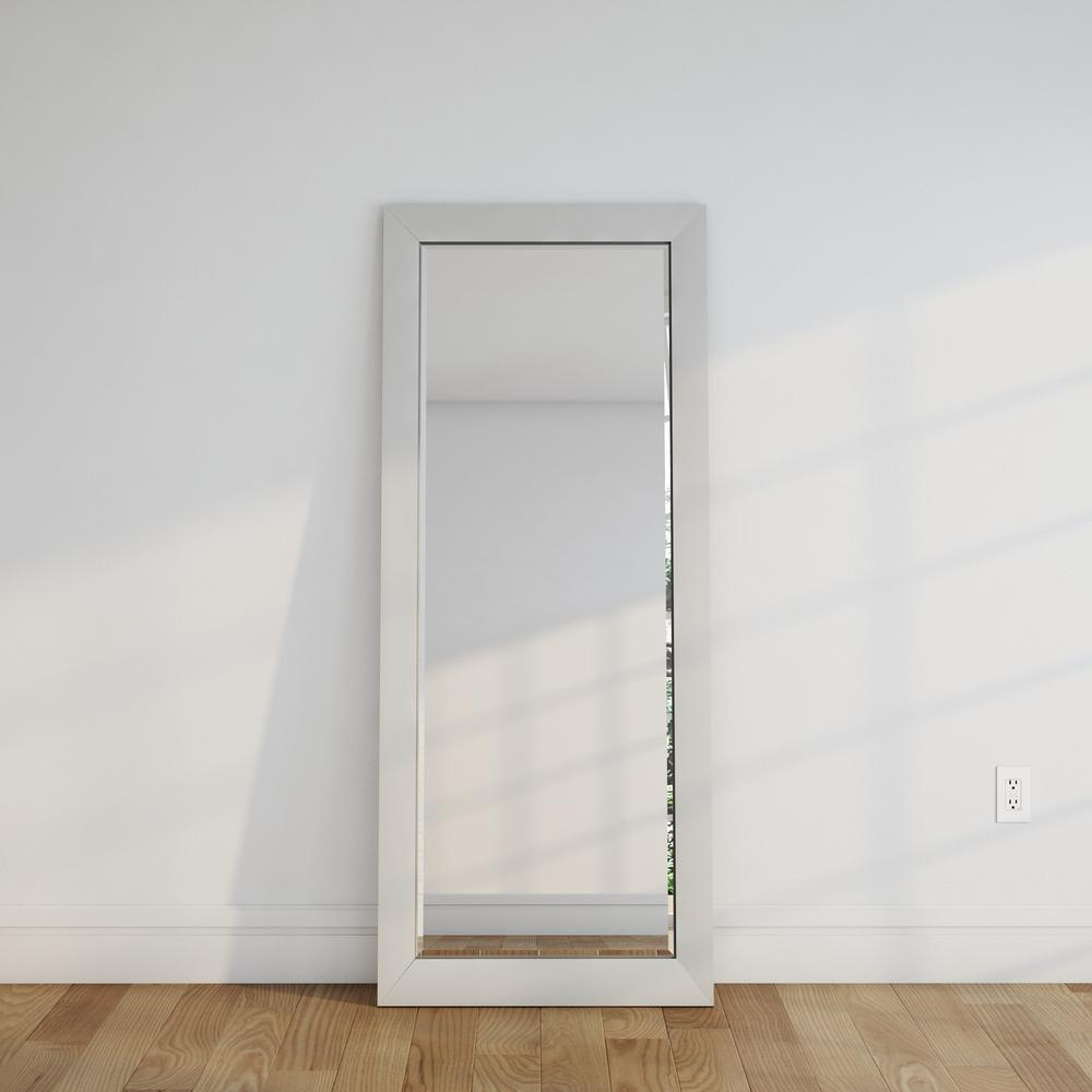 28 5 in x 69 in glossy white beveled oversized full body mirror h021bxt the home depot. Black Bedroom Furniture Sets. Home Design Ideas
