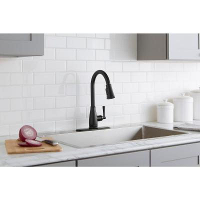 Fairhurst Single-Handle Pull-Down Sprayer Kitchen Faucet with TurboSpray and FastMount in Matte Black