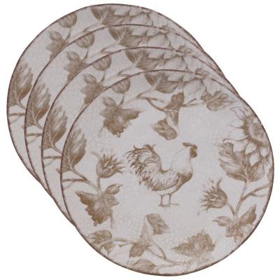 Toile Rooster Multi-color Salad Plate (Set of 4)