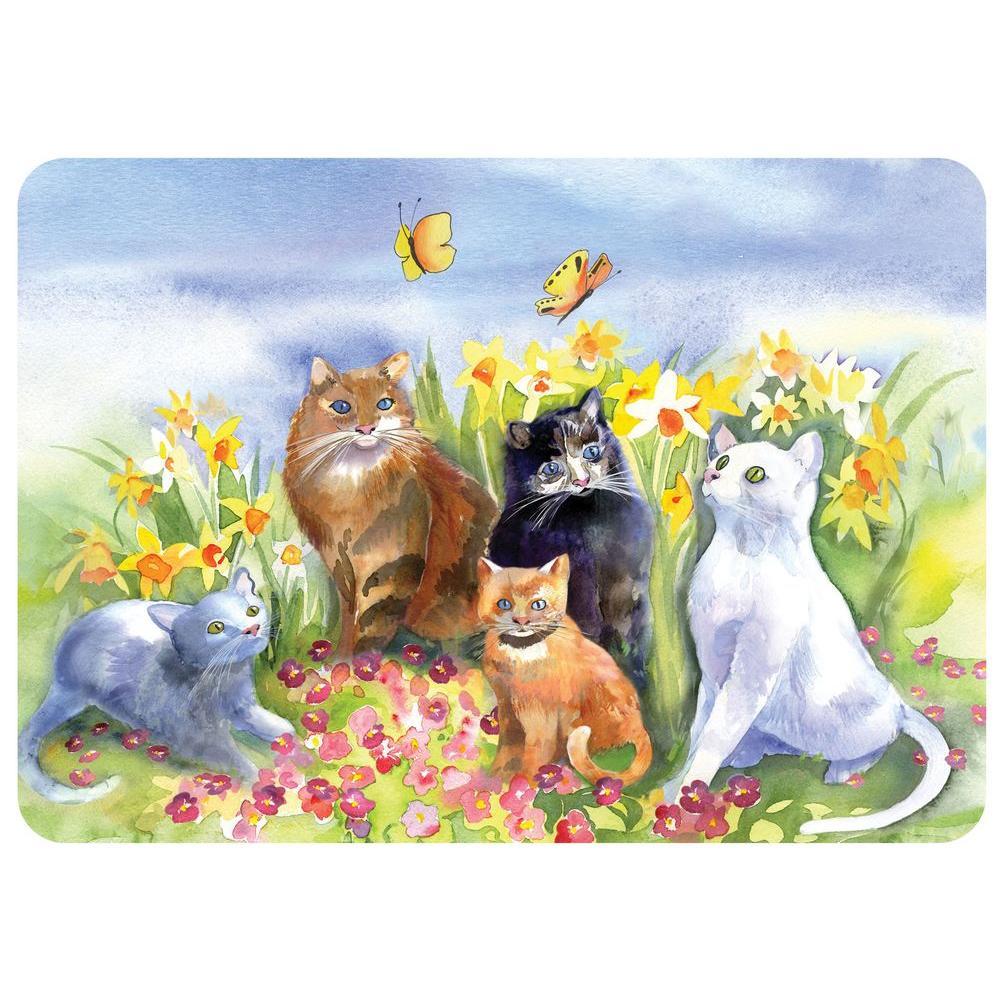 Watercolor Cats 22 in. x 31 in. Polyester Premium Comfort Mat