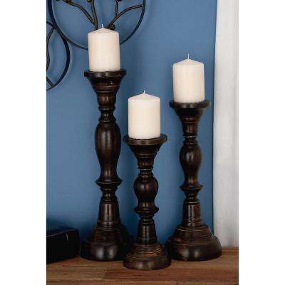 18 in. x 6 in. Mango Wood Candle Holder in Matte Black Finish (Set of 3)
