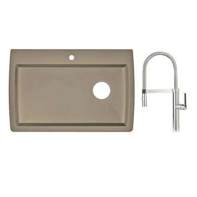 Diamond Dual Mount Granite Composite II 33 in. Single Hole Single Bowl Kitchen Sink with Faucet in Chrome