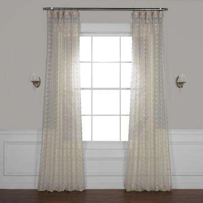 Strasbourg Dot Beige Patterned Linen Sheer Curtain - 50 in. W x 108 in. L