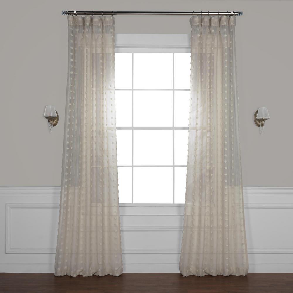 Strasbourg Dot Beige Patterned Linen Sheer Curtain - 50 in. W x 84 in. L