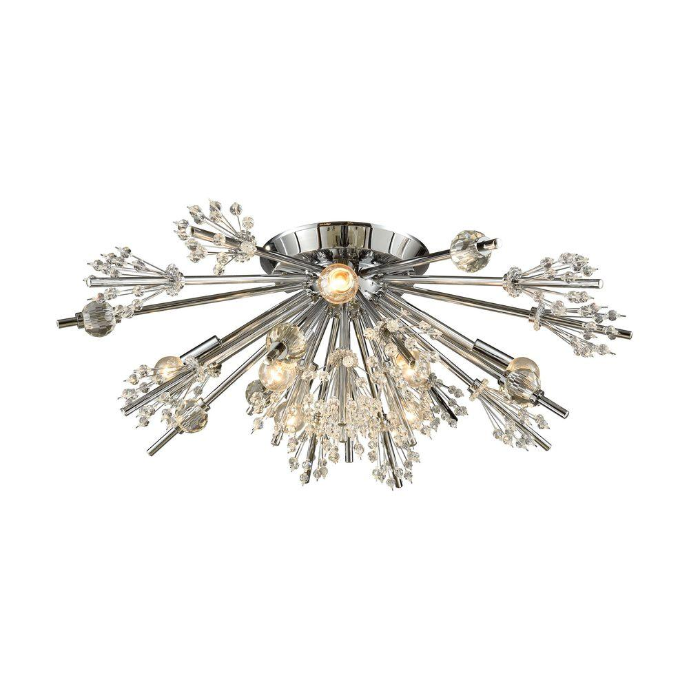 An Lighting Starburst 8 Light Polished Chrome Semi Flush Mount